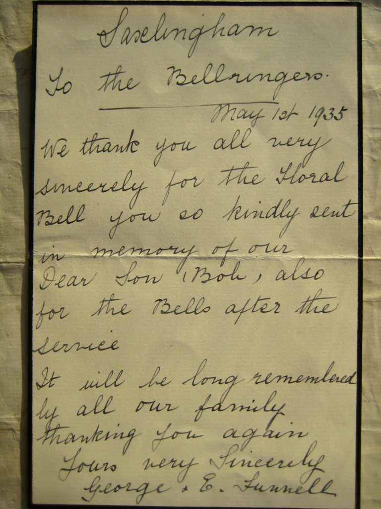 George and Elizabeth Funnell's letter to the Bell-ringers
