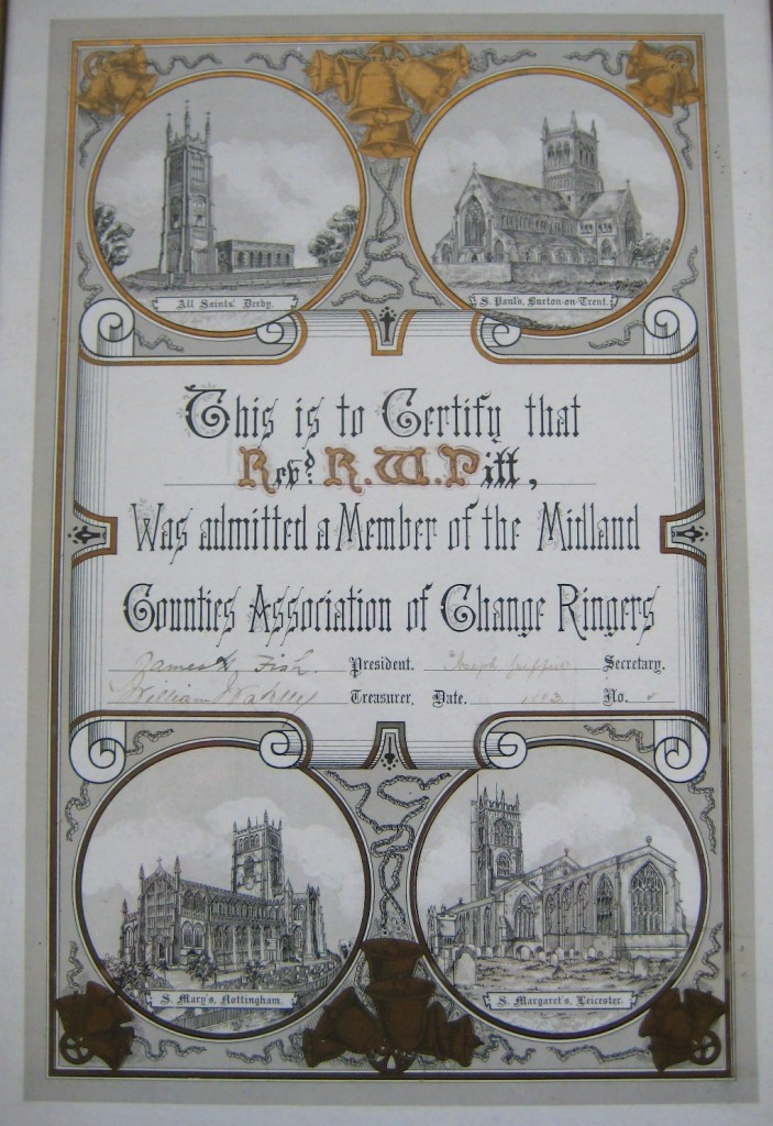 1883 Certificate awarded to Rev. Pitt