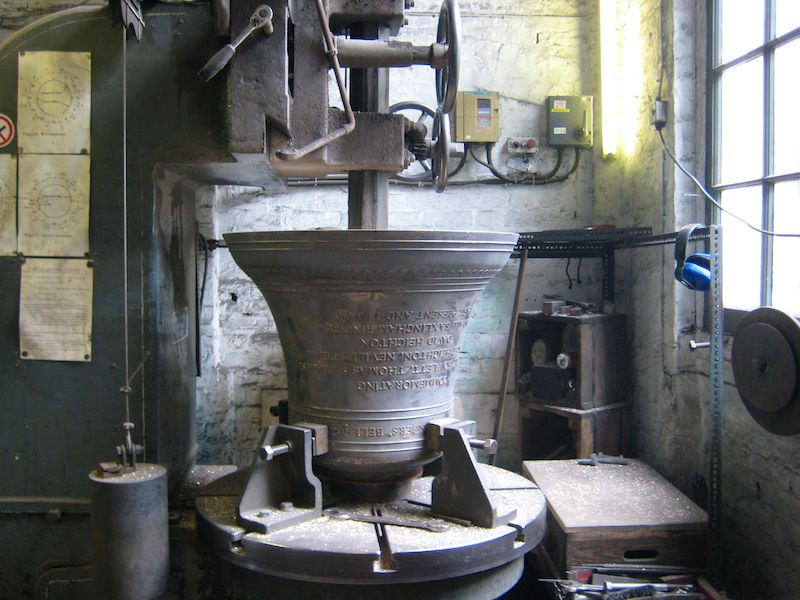 Tenor bell being tuned on the turntable