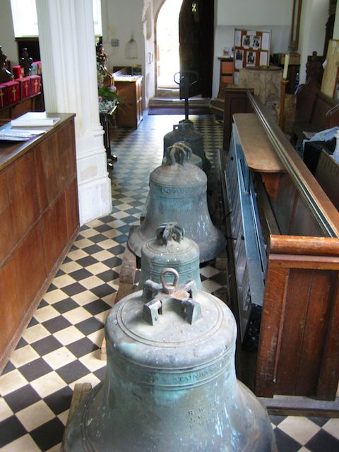 The Bells in the church waiting to be taken to London.