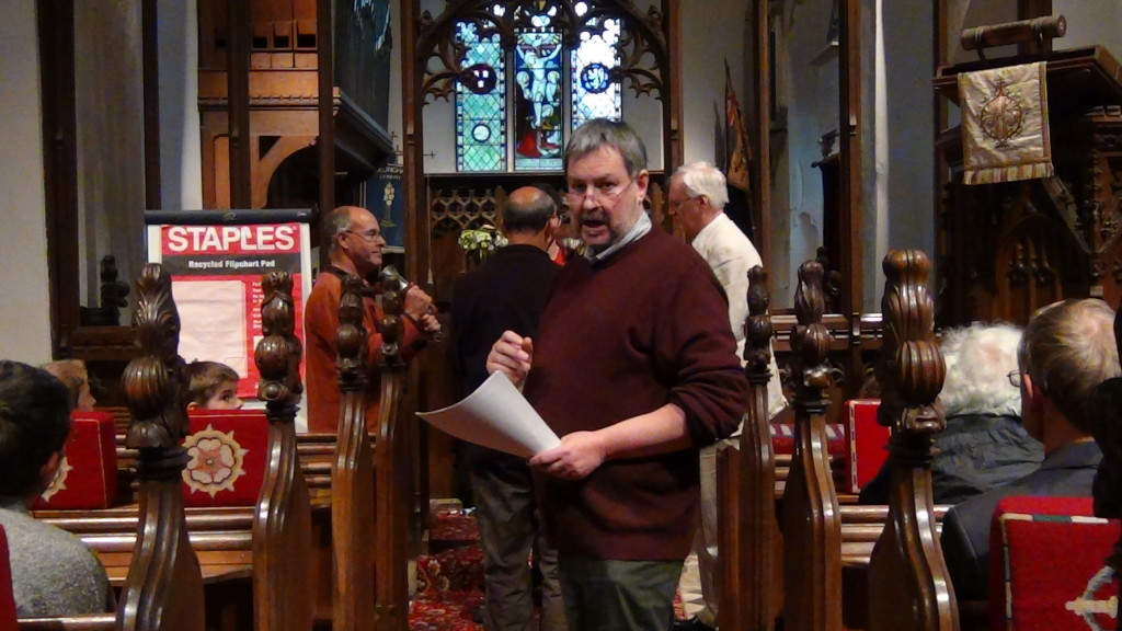 Simon explaining changes whilst Richard, Ben, Neil and David ring the handbells.