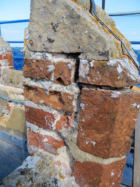 Example of repairs required at the top of the tower 3