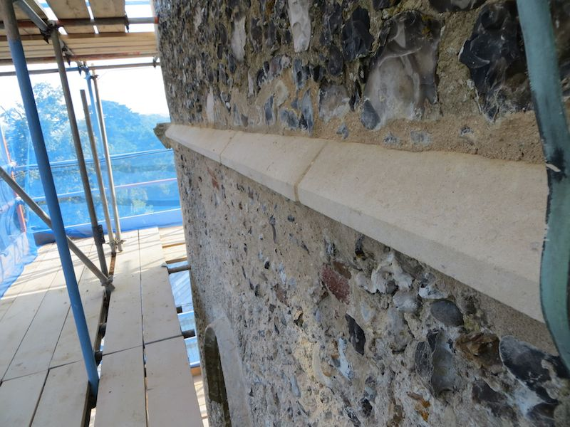 Repaired string course - North side of Tower